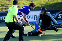 Action from the Auckland Hockey winter intercity men's senior division one match between Auckland Indian Sports Club and University at Lloyd Ellesmore Park in Auckland, New Zealand on Saturday, 9 June 2018. Photo: Dave Lintott / lintottphoto.co.nz
