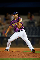 Charlotte Stone Crabs relief pitcher Roel Ramirez (27) delivers a pitch during a game against the Palm Beach Cardinals on April 21, 2018 at Charlotte Sports Park in Port Charlotte, Florida.  Charlotte defeated Palm Beach 5-2.  (Mike Janes/Four Seam Images)