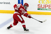 WORCESTER, MA - FEBRUARY 08: Breanna Scarpaci #17 of Boston University takes a shot during a game between Boston University and College of the Holy Cross at Hart Center Rink on February 08, 2020 in Worcester, Massachusetts.