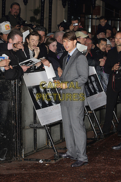 "TOM CRUISE.Attending London Film Festival Times Gala and World Premiere of ""Lions For Lambs"" at the Odeon Leicester Square, London, England, October 22nd 2007..full length signing autographs grey suit navy blue tie fans.CAP/ROS.©Steve Ross/Capital Pictures"