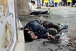 Downtown Jerusalem, Yaffa Street, drunken teenagers during the celebrations of Purim in Jerusalem. Photo (C) Quique Kierszenbaum