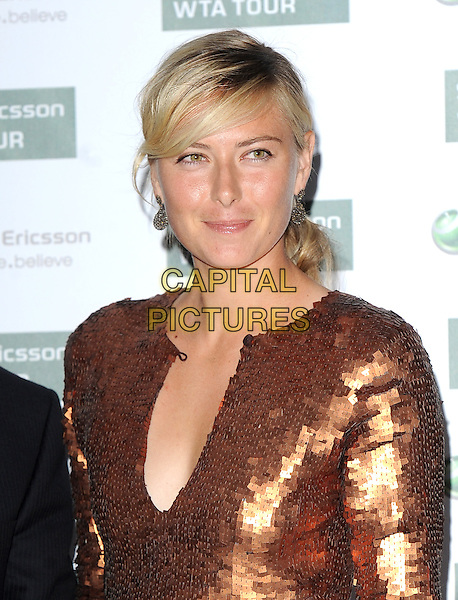 MARIA SHARAPOVA.The WTA Pre-Wimbledon Party, The Roof Gardens, Kensington, London, USA..June 17th, 2010.headshot portrait hair up earrings bronze sequined sequin.CAP/BEL.©Tom Belcher/Capital Pictures.
