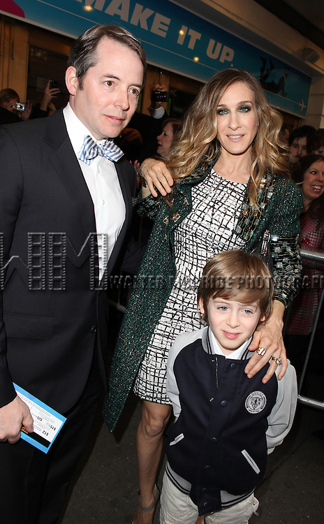 Matthew Broderick & Sarah Jessica Parker with son James Wilke Broderick.attending the Broadway Opening Night Performance of 'Catch Me If You Can' at the Neil Simon Theatre in New York City.