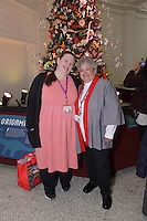 OrigamiUSA holiday tree at the Museum of Natural History, New York. Decorations and lightning ceremony. Wendy Zeichner and Jean Baden-Gillette.