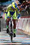 23/05/2015, Valdobbiadene - Giro d'Italia 2015 - Cycling road race - Individual Time Trial<br /> 201 Alberto Contador Velasco (Spa) in action at the finish of the individual time trial of 59,4 km of stage 14th on 23/05/2015 in Valdobbiadene, Italy.