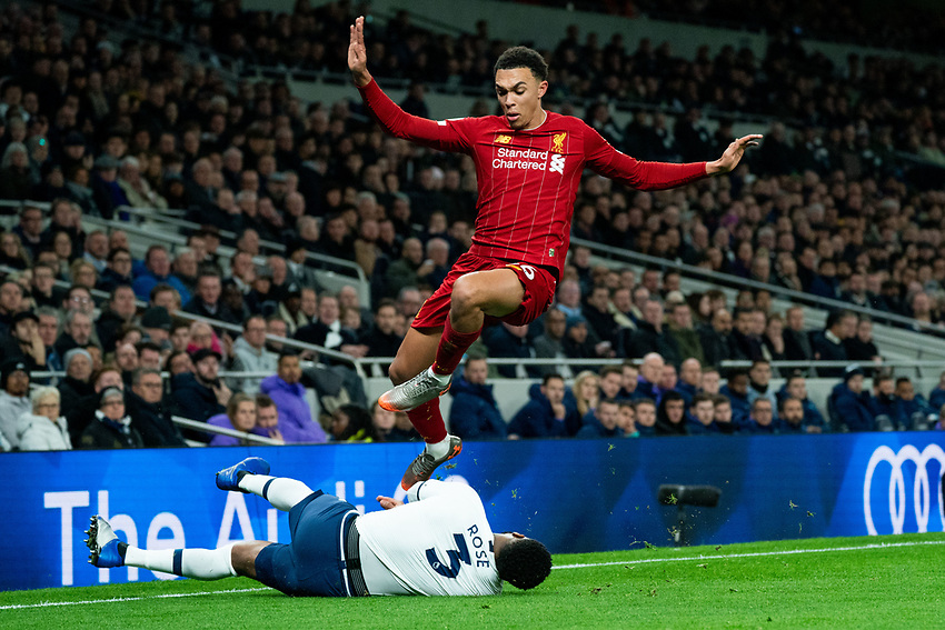 Liverpool's Trent Alexander-Arnold  battles with Tottenham's Danny Rose <br /> <br /> Photographer Stephanie Meek/CameraSport<br /> <br /> The Premier League - Tottenham Hotspur v Liverpool - Saturday 11th January 2020 - Tottenham Hotspur Stadium - London<br /> <br /> World Copyright © 2020 CameraSport. All rights reserved. 43 Linden Ave. Countesthorpe. Leicester. England. LE8 5PG - Tel: +44 (0) 116 277 4147 - admin@camerasport.com - www.camerasport.com