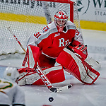 29 December 2018: Rensselaer Engineer Goaltender Owen Savory, a Freshman from Cambridge, ON, makes a third period save against the University of Vermont Catamounts at Gutterson Fieldhouse in Burlington, Vermont. The Catamounts rallied from a 2-0 deficit to defeat RPI 4-2 and win the annual Catamount Cup Tournament. Mandatory Credit: Ed Wolfstein Photo *** RAW (NEF) Image File Available ***