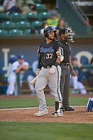 Tristen Carranza (37) of the Missoula Osprey walks back to the dugout against the Ogden Raptors at Lindquist Field on August 12, 2019 in Ogden, Utah. The Raptors defeated the Osprey 4-3. (Stephen Smith/Four Seam Images)