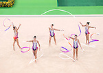 Belarus team group (BLR),<br /> AUGUST 20, 2016 - Rhythmic Gymnastics :<br /> Group All-Around Qualification, Rotation 1 Ribon at Rio Olympic Arena during the Rio 2016 Olympic Games in Rio de Janeiro, Brazil. (Photo by Enrico Calderoni/AFLO SPORT)