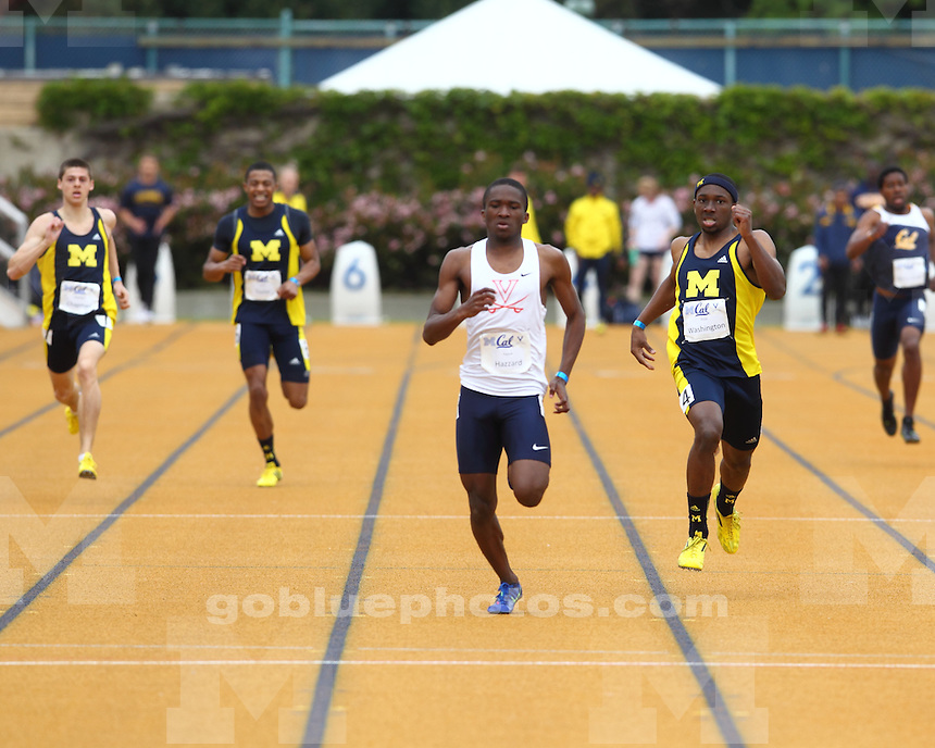 The University of Michigan men's track and field team finished in second place (145 points) in a tri-meet with California and Virginia at Edwards Stadium in Berkeley, Calif., on April 6, 2013.