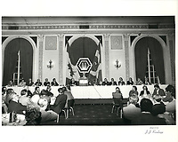 a la tribune de la chambre de commerce de Montreal, le 5 mai 1980<br /> <br /> PHOTO : Agence Quebec Presse