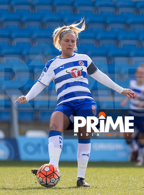 Kirsty McGee of Reading Women plays a pass during the Women's FA Cup match between Reading Women and Millwall Lionesses at Adams Park, High Wycombe, England on 20 March 2016. Photo by Andy Rowland.