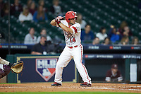 Kennon Fontenot (14) of the Louisiana Ragin' Cajuns at bat against the Mississippi State Bulldogs in game three of the 2018 Shriners Hospitals for Children College Classic at Minute Maid Park on March 2, 2018 in Houston, Texas.  The Bulldogs defeated the Ragin' Cajuns 3-1.   (Brian Westerholt/Four Seam Images)