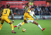 4th November 2017, Liberty Stadium, Swansea, Wales; EPL Premier League football, Swansea City versus Brighton and Hove Albion; Jose Izquierdo of Brighton plays the ball back after winning it from Kyle Naughton of Swansea City