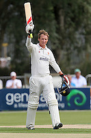 Tom Westley of Essex celebrates scoring a century, 100 runs for his team - Essex CCC vs Glamorgan CCC - LV County Championship Division Two Cricket at the Castle Park, Colchester - 17/08/12 - MANDATORY CREDIT: Gavin Ellis/TGSPHOTO - Self billing applies where appropriate - 0845 094 6026 - contact@tgsphoto.co.uk - NO UNPAID USE.