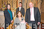 Baby Sinead pictured with her parents Lisa & Ronan McMahon, Listowel and her godparents Marie Ward & Diarmuid Keane who was christened at St. Mary's Church, Listowel on Sunday last by Canon Declan O'Connor and afterwards at the Listowel Arms Hotel.