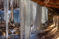 A small waterfall in the Ozark National Forest, Arkansas. Taken during a peroid of extreme cold temperatures.  It appears that the water froze instantly forming a curtain of  ice.