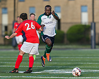 Malden, Massachusetts - June 9, 2018:  In a National Premier Soccer League (NPSL) match, Boston City FC (red/white) defeated Hartford City FC (white/green/blue), 2-0, at Brother Gilbert Stadium on Donovan Field.<br /> Called foul.