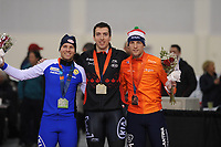 SPEEDSKATING: SALT LAKE CITY: 08-12-2017, Utah Olympic Oval, ISU World Cup, Podium 500m Men, Mika Poutala (FIN), Alex Boisvert-Lacroix (CAN), Ronald Mulder (NED), ©photo Martin de Jong