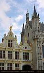 Civil Registry Renaissance Facade, Town Hall Staduis Towers, Burg Square, Bruges, Brugge, Belgium