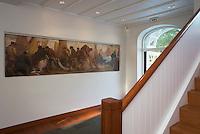 """Europe/France/Bretagne/29/Finistère/Ste-Marine:Hotel-Restaurant """"La Villa Tri Men"""" détail du hall avec sa fresque représentant des scènes de pêche"""