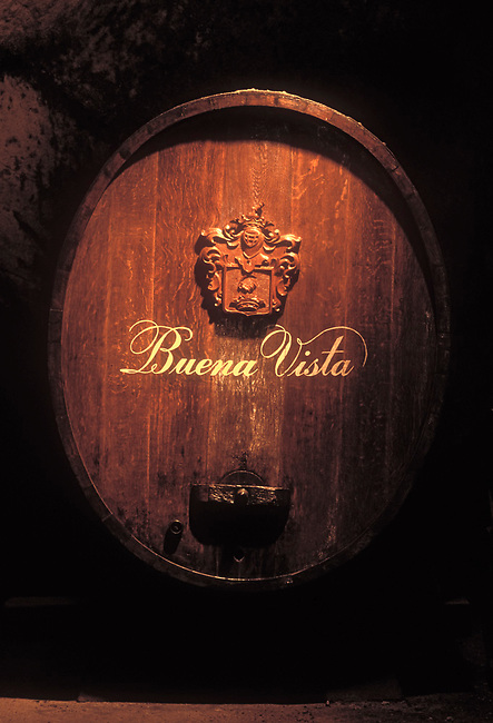 Old wine barrel at Buena Vista winery