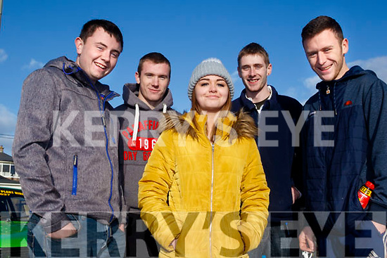 L-R Darren Walsh, Adam O'Connell, Emma Houlihan, Alan Flaherty and darragh Gill from lisellton at the rally last Sunday.
