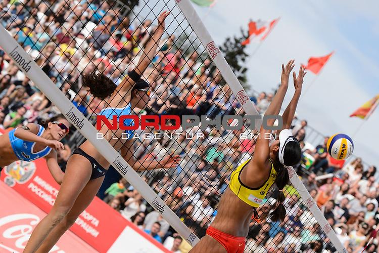 31.05.2015, Moskau, Vodny Stadion<br /> Moskau Grand Slam, Main Draw / Spiel Platz 3/4<br /> <br /> Angriff Marta Menegatti (#1 ITA) - Block Fan Wang (#1 CHN)<br /> <br />   Foto &copy; nordphoto / Kurth