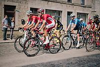Anthony Perez (FRA/Cofidis) over the town's pav&eacute;d main road<br /> <br /> 59th Grand Prix de Wallonie 2018 <br /> 1 Day Race from Blegny to Citadelle de Namur (BEL / 206km)