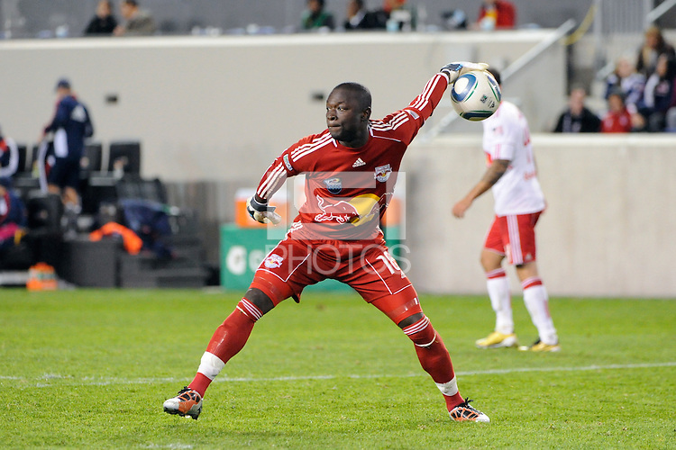 New York Red Bulls goalkeeper Bouna Coundoul (18). The New York Red Bulls defeated the New England Revolution 2-0 during a Major League Soccer (MLS) match at Red Bull Arena in Harrison, NJ, on October 21, 2010.