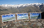 Information panels about the landscape of Sierra Nevada Mountains in the High Alpujarras, Hoya del Portillo, near Capileira, Granada Province, Spain
