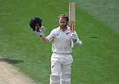 23rd March 2018, Eden Park, Auckland, New Zealand; International Test Cricket, New Zealand versus England, day 2;  Kane Williamson celebrates his century
