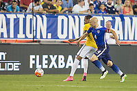 Foxborough, Massachusetts - September 8, 2015:  Brazil (yellow and white) beat the USA (blue) 4-1 in an International friendly match at Gillette Stadium.