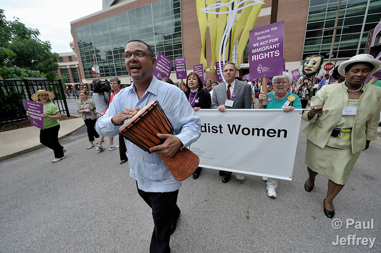 Jorge Lockwood leads United Methodist leaders in a march in support of immigrants rights during the 2010 Assembly of United Methodist Women in St. Louis, Missouri. Photo by Paul Jeffrey/Response.