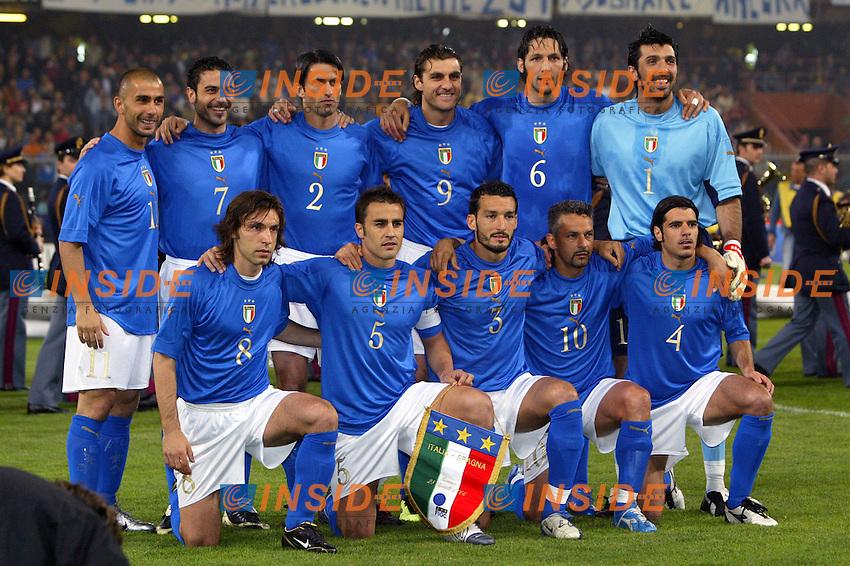 Genova 28/4/2004 <br /> Amichevole Italia Spagna 1-1 - Friendly match Italy - Spain 1-1. <br /> La formazione Italiana <br /> Photo Andrea Staccioli / Insidefoto