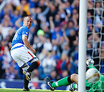 Kenny Miller looks back to see his header bounce off the post and past keeper Robert Olenjik for Rangers second goal