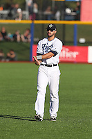 Zach Nehrir (20) of the Hillsboro Hops warms up before a game against the Salem-Keizer Volcanoes at Ron Tonkin Field on July 27, 2015 in Hillsboro, Oregon. Hillsboro defeated Salem-Keizer, 9-2. (Larry Goren/Four Seam Images)