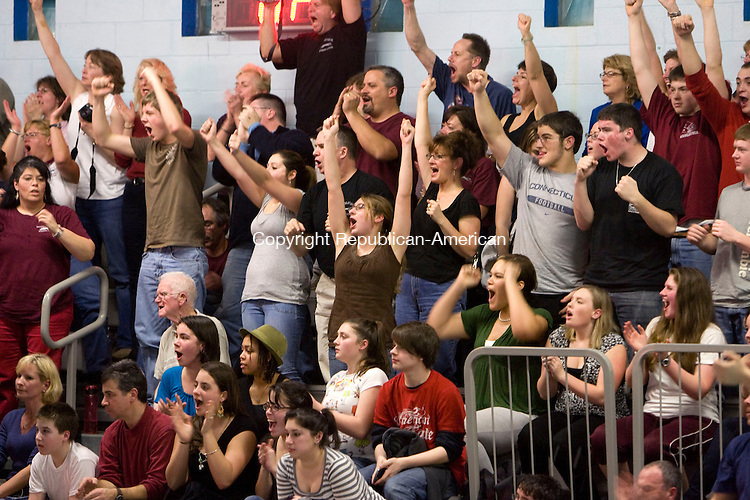 NAUGATUCK, CT - 30 JANUARY 2009 -013009JT26-<br /> Naugatuck fans cheer as Trevor Hller finishes first in the 200 yard freestyle relay during Friday's meet against Sacred Heart at Naugatuck. Naugatuck won, 98-88.<br /> Josalee Thrift / Republican-American