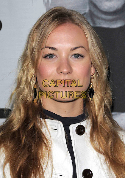 "YVONNE STRAHOVSKI .Attends The Berkela Films & Vas Entertainment L.A. Screening of ""Bra Boys"" held at The DGA in West Hollywood, California, USA, .April 07 2008.                                                                    portrait headshot black earrings white buttons .CAP/DVS.©Debbie VanStory/Capital Pictures"