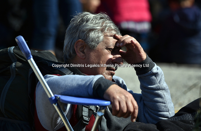 Pictured: A migrant man at the refugee camp Tuesday 23 February 2016<br /> Re: Migrants at a refugee camp in the Schisto area of Athens, Greece.