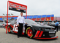 Oct. 30, 2009; Talladega, AL, USA; NASCAR Nationwide Series driver Justin Allgaier with the 2010 car of tomorrow Dodge Challenger at the Talladega Superspeedway. Mandatory Credit: Mark J. Rebilas-