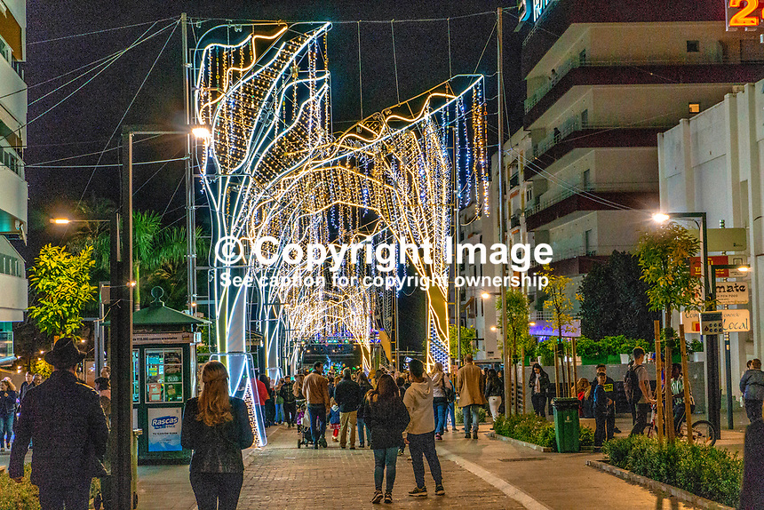 Christmas Lights, San Pedro de Alcantara, Malaga Province, Spain, November, 2018 201811300053<br />