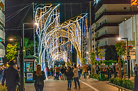Christmas Lights, San Pedro de Alcantara, Malaga Province, Spain, November, 2018 201811300053<br /><br />Copyright Image from Victor Patterson, 54 Dorchester Park, <br />Belfast, UK, BT9 6RJ<br /><br />t1: +44 28 9066 1296 (from Rep of Ireland 048 9066 1296)<br />t2: +44 28 9002 2446 (from Rep of Ireland 048 9002 2446)<br />m: +44 7802 353836<br /><br />victorpattersonbelfast@gmail.com<br /><br />Please see my Terms and Conditions of Use at victorpatterson.com. It is IMPORTANT that you familiarise yourself with them.<br /><br />Images used on the Internet incur an additional cost and must be visibly watermarked i.e. &copy; Victor Patterson within the body of the image and copyright metadata must not be deleted. Images used on the Internet have a size restriction of 4kbs and are chargeable at rates available at victorpatterson.com.<br /><br />This image is available only for the use of the download recipient i.e. television station, newspaper, magazine, book publisher, etc, and must not be passed on to any third party. It is also downloaded on condition that each and every usage is notified within 7 days to victorpattersonbelfast@gmail.com<br /><br />The right of Victor Patterson (or the named photographer) to be identified as the author is asserted in accordance with The Copyright Designs And Patents Act (1988). All moral rights are asserted.