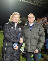 Tom Biggs of Bath Rugby wins the Man of the Match award during the LV= Cup match between Exeter Chiefs and Bath Rugby at Sandy Park Stadium on Sunday 5th February 2012 (Photo by Rob Munro)