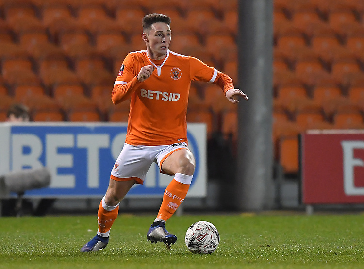 Blackpool's Jordan Thompson<br /> <br /> Photographer Dave Howarth/CameraSport<br /> <br /> The Emirates FA Cup Second Round Replay - Blackpool v Solihull Moors - Tuesday 18th December 2018 - Bloomfield Road - Blackpool<br />  <br /> World Copyright © 2018 CameraSport. All rights reserved. 43 Linden Ave. Countesthorpe. Leicester. England. LE8 5PG - Tel: +44 (0) 116 277 4147 - admin@camerasport.com - www.camerasport.com