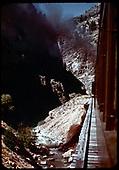 Excursion train on Bridge 329C across Cimarron Creek - 9-47<br /> D&amp;RGW  Cimarron Creek, NM  Taken by Maxwell, John W. - 9/1947