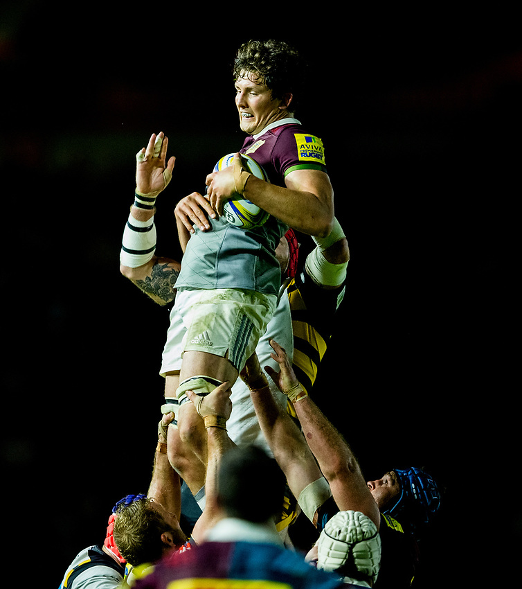 Harlequins' Charlie Matthews claims a line out<br /> <br /> Photographer Bob Bradford/CameraSport<br /> <br /> Aviva Premiership - Harlequins v Wasps - Friday April 28 2017 - The Stoop - London<br /> <br /> World Copyright &copy; 2017 CameraSport. All rights reserved. 43 Linden Ave. Countesthorpe. Leicester. England. LE8 5PG - Tel: +44 (0) 116 277 4147 - admin@camerasport.com - www.camerasport.com
