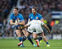Twickenham, United Kingdom. Full Back, Edorado PADOVANI attacking on the left wing, during the  6 Nations International Rugby Match, England vs Italy at the RFU Stadium, Twickenham, England, <br /> <br /> Sunday  26/02/2017<br /> <br /> [Mandatory Credit; Peter Spurrier/Intersport-images]