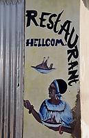Afrique/Afrique de l'Ouest/Sénégal/Parc National de Basse-Casamance/Cap Skirring : Enseigne restaurant