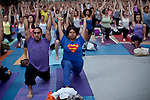 Yoga practice on the summer solstice in New York